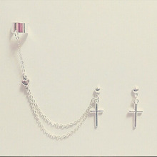 Cross And Tiny Heart Charm Cartilage Chain Earrings