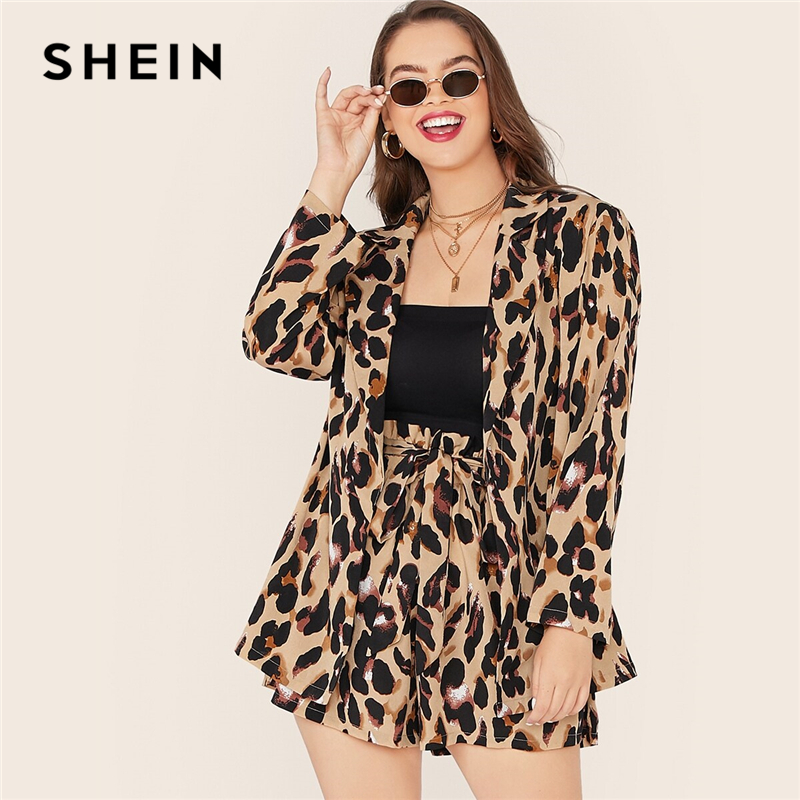 SHEIN Plus Size Leopard Print Notch Collar Blazer And Belted Shorts 2 Piece Set Women Autumn Casual Glamorous Two Piece Set