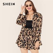 SHEIN Plus Size Leopard Print Notch Collar Blazer and Belted Shorts 2 Piece Set Women Autumn Casual Glamorous Two Piece Set