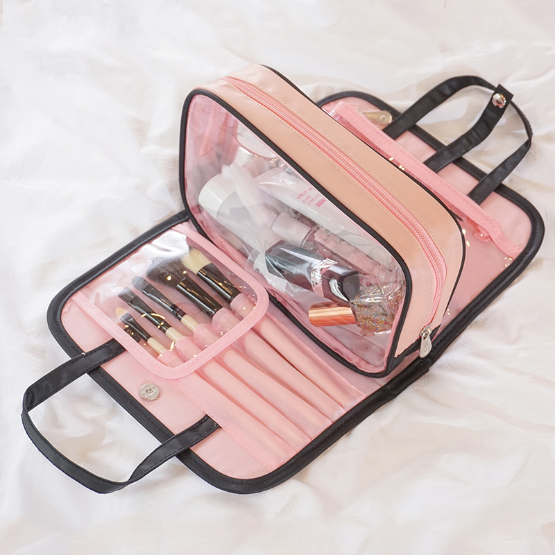 S.IKRR Travel Cosmetic Bag Transparent Zipper Professional Toiletry Bag Cosmetic Bag Organizer Women Make Up Multifunctional