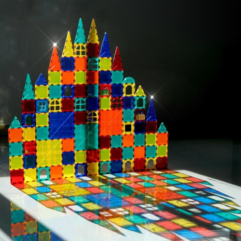 Kolorowe okna magnetyczne 1 sztuk big size DIY zabawki zabawki edukacyjne dla dzieci plastikowe kreatywne cegły oświecić klocki magnetyczne