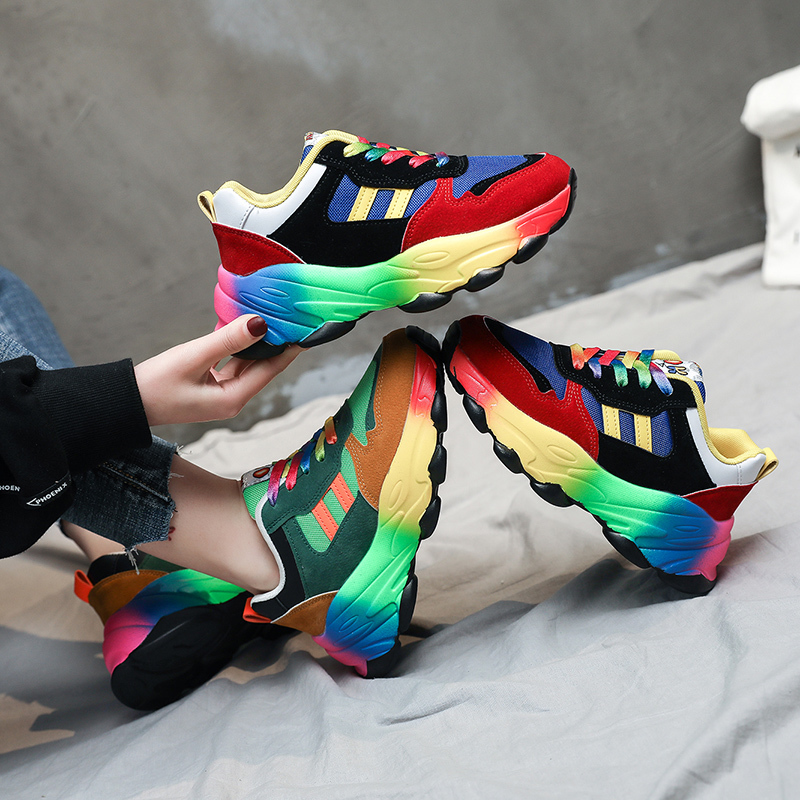Chunky Sneakers For Women Thick Wedges Multicolor Shoes Casual Platform Sport Shoes Dad Inspired Lace-up Fashion Sneakers 2020