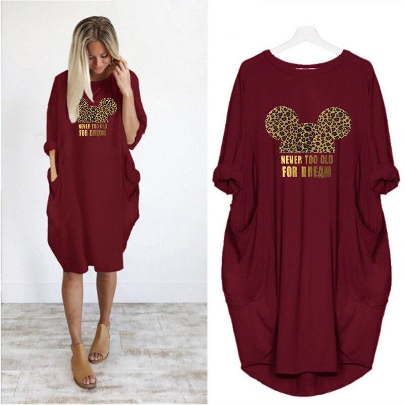 Kleid Frauen Leopard Cartoon Tasche Lose Plus Größe Kleider Vintage Herbst Mickey Kleidung Party Kleider Frau Kleid