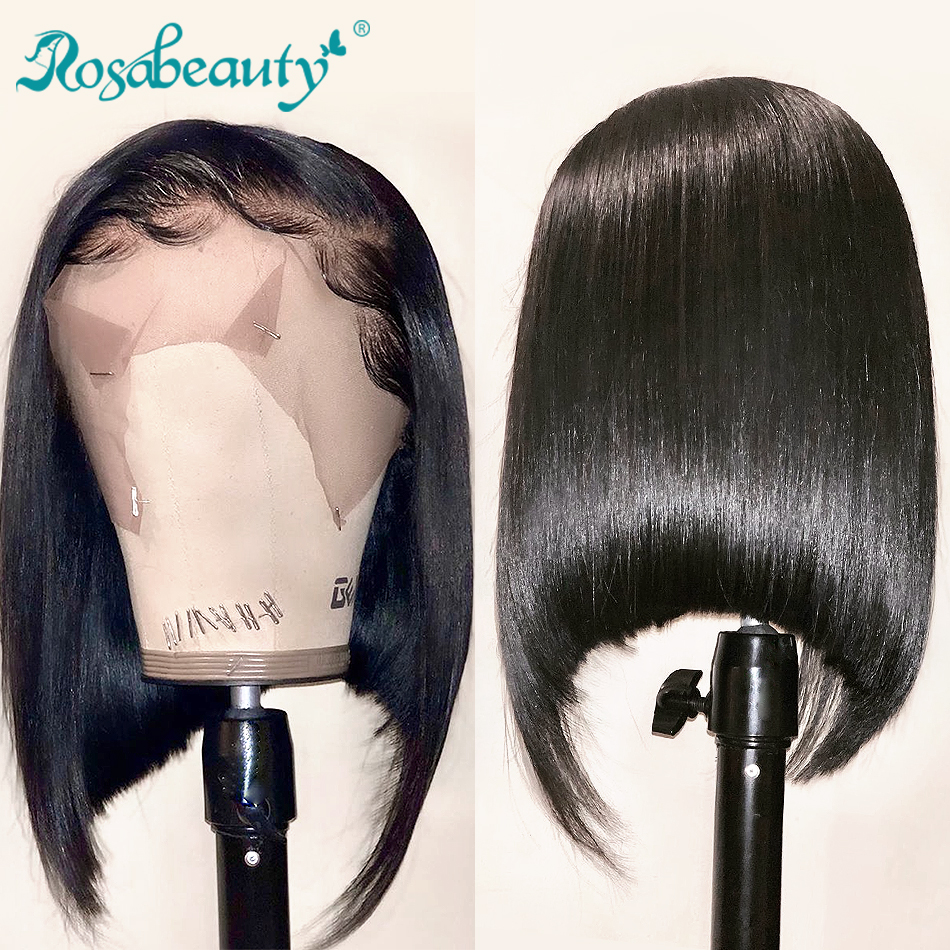 Rosabeauty Brazilian Short Bob Remy Straight 2x6 13x4 Lace Front Human Hair Wigs Natural Color Lace Frontal Wig For Black Women