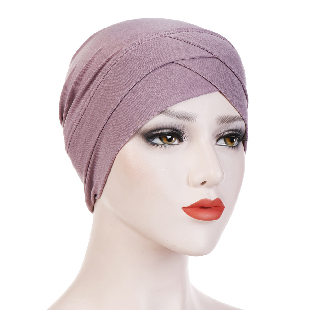 Women Stretchy Hijabs Hat Turban Cross Head Wrap Chemo Bandana Muslim Scarf Plain Hijabs Caps Ethnic Black Blue Hats Headwear