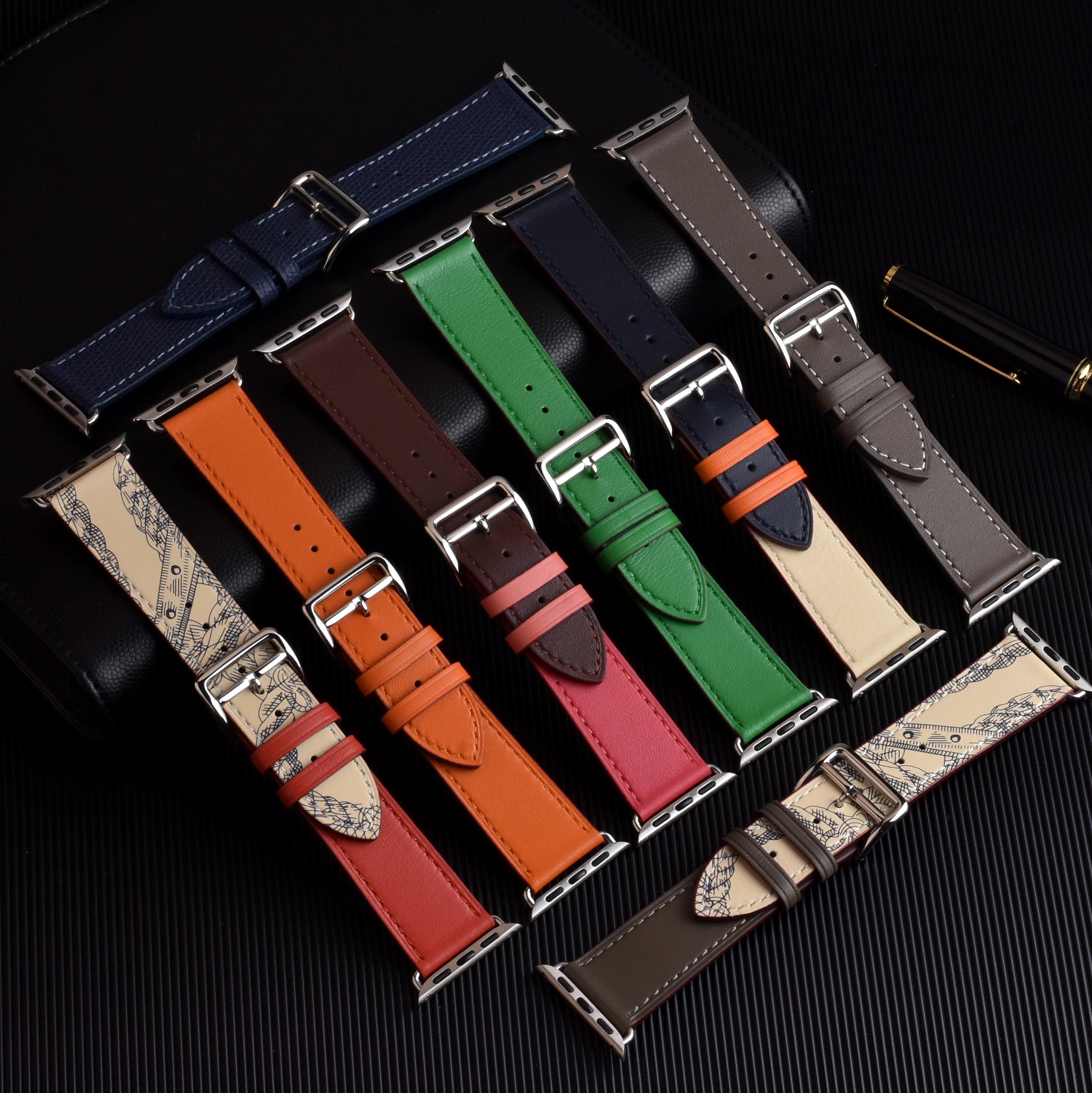 Cinturino cinturino cinturino in vera pelle di mucca 100% per Apple Watch 6 SE 5 4 42MM 38MM 44MM 40MM cinturino per iWatch 6 5 4 cinturino 2
