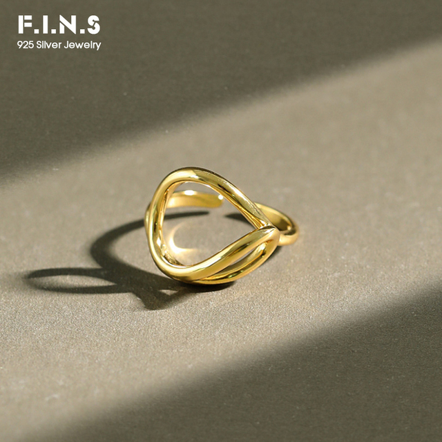 F.I.N.S koreański oryginalne 925 srebro pierścionki dla kobiet minimalistyczny pierścień linii kobiet otwarcie srebrne pierścienie