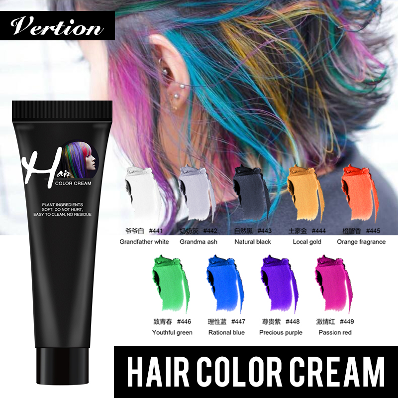 Verntion Hair Dye Temporary Hair Color Wax Temporary Dye Disposable Dye Cream Hair Gel For Hair Coloring Styling Silver Grey