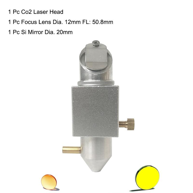 CO2 Laser Head Air Nozzle+ Mo Si Mirror Dia 20mm +Znse Lens Dia 12mm 20mm  K40 Laser Engraving Cutting Engraver Cutter Machine