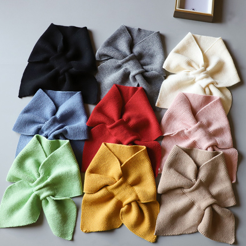 Scarf Style Fake Collar Bow Black Warm Knited False Collar Tie Stand Removable Vintage Detachable Collars For Women Neckwear