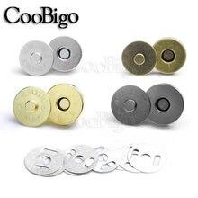 50 conjuntos de fecho magnético prendedores botões ímã fivela bolsa carteira costura couro peças 10mm 14mm 18mm