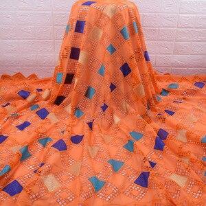 Image 4 - Son afrika dantel kumaş yüksek kaliteli nijeryalı günü dantel kumaş delikli nakış İsviçre saf pamuklu kumaş günlük WearA1754