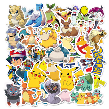 50pcs / set Pikachu Monster Pokemon stickers anime surrounding toys Action Figures doll character party decoration toy gift set death note anime character figures 8 piece set