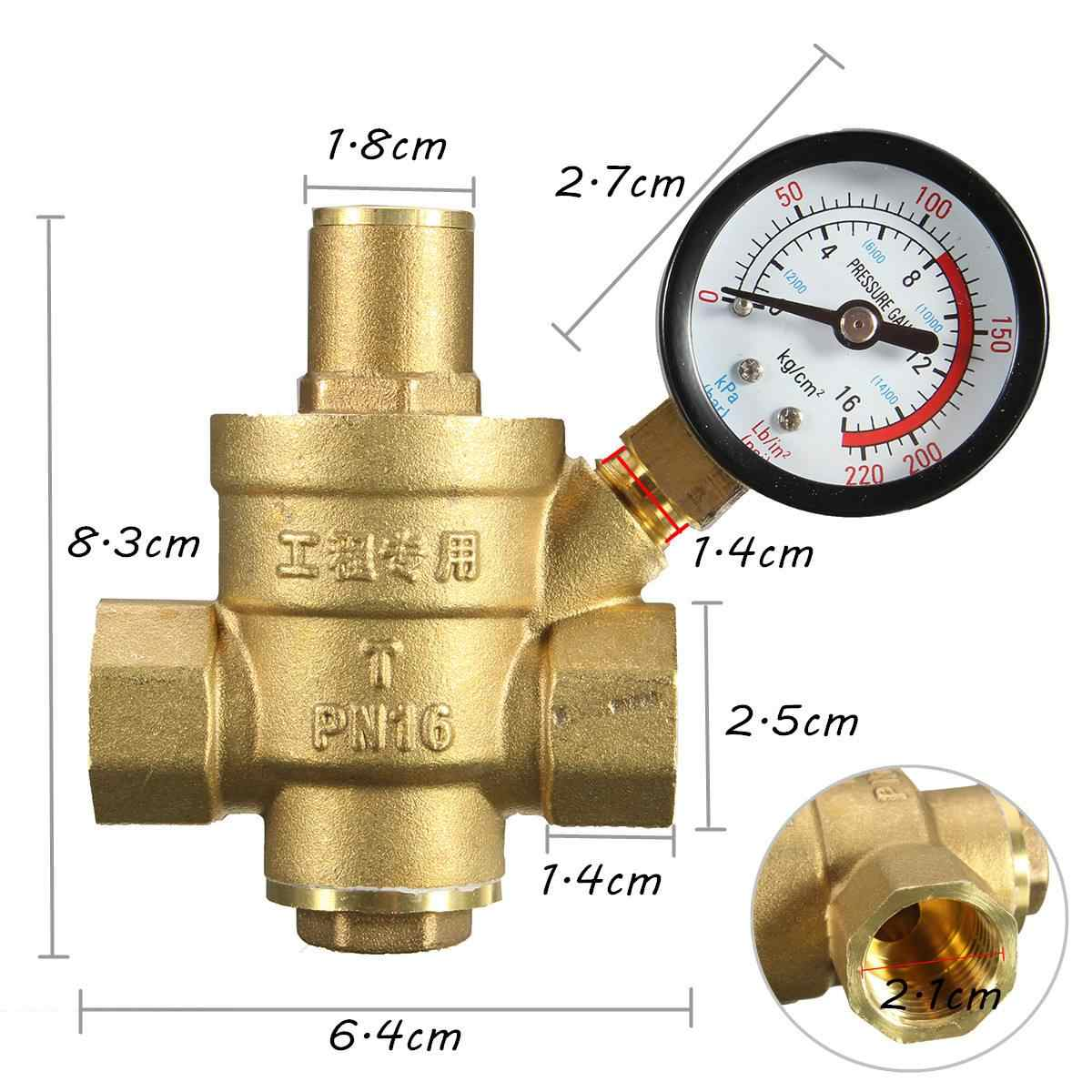 Brass Water Pressure Regulator with Gauge PN 1.6 Connector Size 1//2/'/'