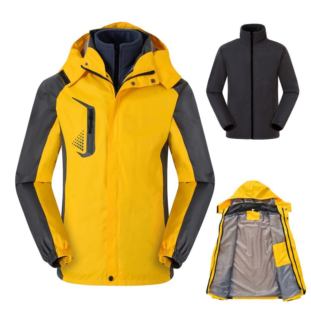 Men's 3 In1 Winter Warm Fleece Jacket Two Pieces Windbreaker Outdoor Sports Hiking Camping Skiing Coats Male Sportswear ,GA420