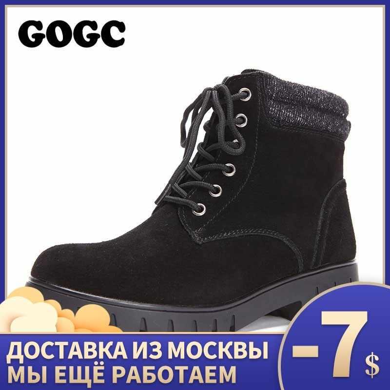 GOGC hakiki deri yarım çizmeler kış ayakkabı sıcak dantel up kare topuk kar botları motosiklet kış çizmeler kadın 9826