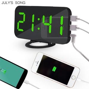 Image 4 - JULYS שיר מראה שעון מעורר הדיגיטלי LED שעוני USB טלפון טעינה אלקטרוני שעון שולחן נודניק אוטומטי מתכוונן אור שעונים