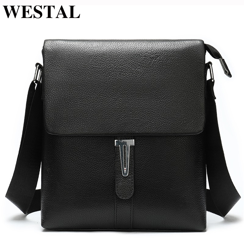WESTAL Men's Shoulder Bag Male Genuine Leather Crossbody Bags For Men Flap Black Camera Messenger/Shoulder Bag Leather Man 8965
