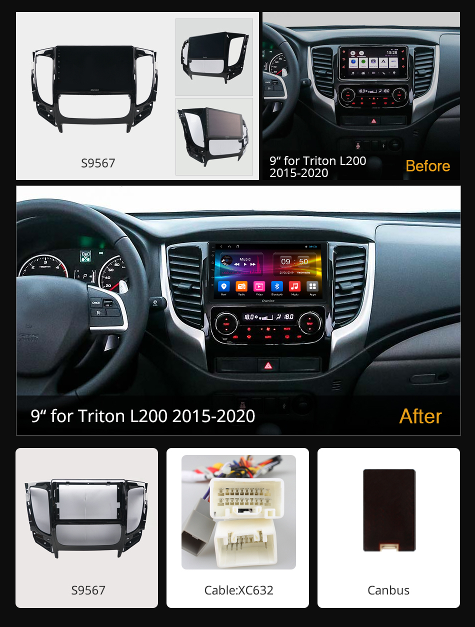 Image 2 - Ownice k3 k5 k6 Android 9.0 Car Radio Dvd Player For Mitsubishi Triton L200 DSP 4G LTE Car Radio GPS Navi 8Core 2016 2017 2018Car Multimedia Player   -