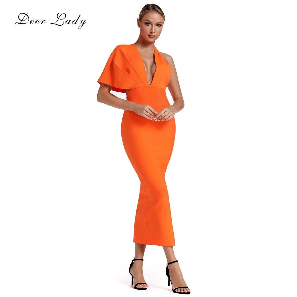 Cerf dame femmes Bandage robe 2019 nouveaux arrivants été drapé Orange Bandage Maxi robe Sexy col en V soirée célébrité robe de soirée