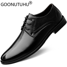 2019 new men's dress shoes genuine leather male classic brown & black lace up shoe man work office formal shoes for men hot sale hot sale autumn lace up square toe men dress shoes black leather shoes luxury male casual shoes man office feast formal shoes