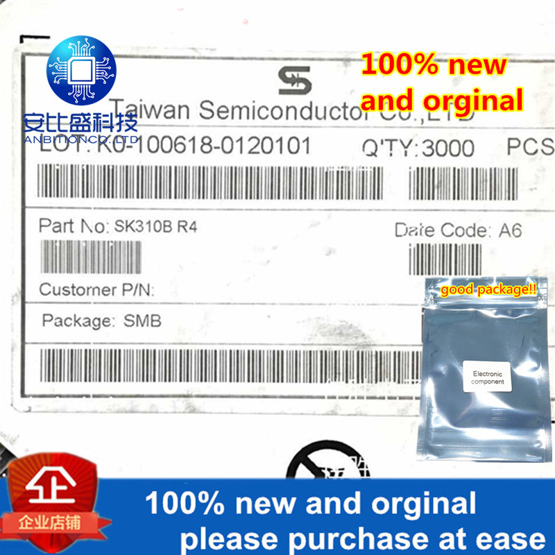 30pcs 100% New And Orginal  SK310B 3A100V DO214AA In Stock