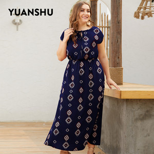 Image 5 - YUANSHU XL 4XL حجم كبير البوهيمي طباعة فستان طويل المرأة س الرقبة عالية الخصر المتضخم فستان حفلة عيد فستان حجم كبير