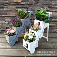 Creative wood for old flower stand vintage folding trolley plant flower rack decorative tray plant pot stand indoor plant stand