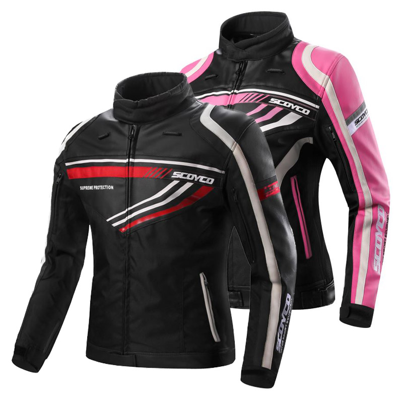 Women men leather Motorcycle racing couple jacket CE approved riding suit apparel oxford microfiber garment with protect armor