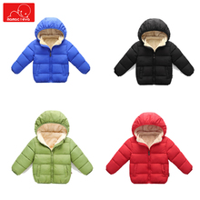 children winter Plush coat warm boys girls hooded  jackets outerwear solid color kids parkas jacket overcoat