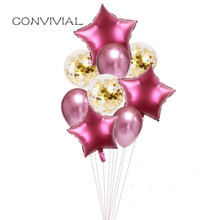 9pcs Confetti Balloons Birthday Party Metal Latex Balloon Decoration Air Wedding Baby Shower Kids Ballons