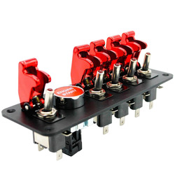 6-Gang 12V 20A Engine Start Push Button Switch Panel Red Race Car Flip-up