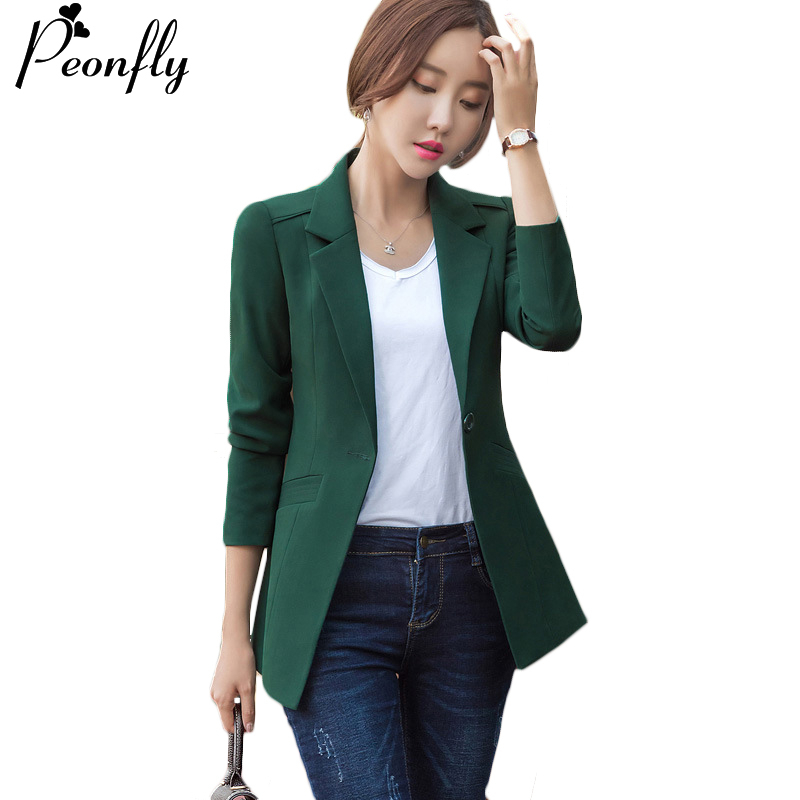 PEONFLY Fashion 2020 Spring Blazer Jackets Women Long Sleeve Blazers Solid Single Button Coat Slim Office Lady Tops Pink Green