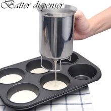 AA Stainless Steel Batter Separator Kitchen Separation Funnel with Handle Food Grade Material Cake Baking Tool jiqi octopus balls filler takoyaki stainless steel filling funnel manual waffle batter separator chocolate cream baked hopper