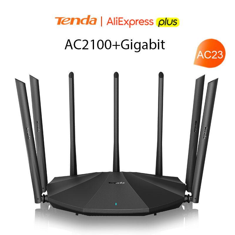 Tenda AC23 AC2100 Router Gigabit 2.4G 5.0GHz Dual-Band 2033Mbps Wireless Router Wifi Repeater with 7 High Gain Antennas Wider 2
