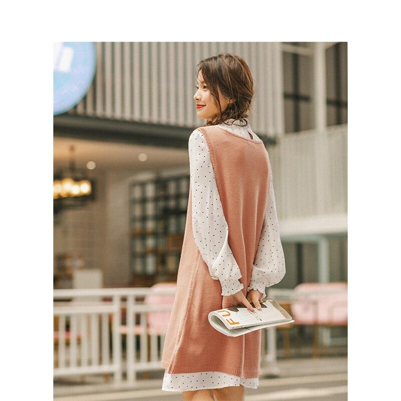 INMAN 2019 ฤดูใบไม้ร่วงใหม่ Retro Wave Point Agaric ลูกไม้ยืนขึ้นคอชุด V Neck เสื้อกันหนาวผู้หญิง 2 ชิ้น-ใน ชุดสตรี จาก เสื้อผ้าสตรี บน   2