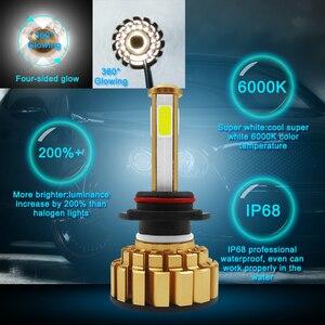 Image 4 - 12000Lm 6500K H4 LED H7 hb4 9006 hb3 9005 H8 H11 Auto Car Headlight Bulbs 4 Side Chip Leds Car Lights Bulbs LED H4 H7 Auto Lamps