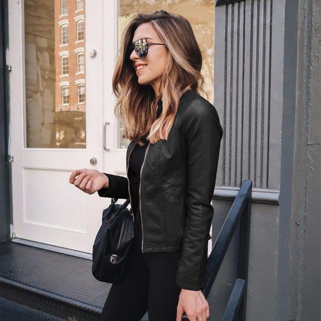 women slim black leather jacket 2020 autumn oversized streetwear with zipper PU leather coats casual outwear jaqueta de couro
