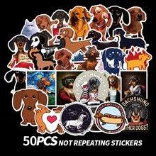 Autocollants waterproof de chien teckel, 50 pièces, stickers, dessins animés, animaux, mignons, pour skateboard, valise, ordinateur portable, Hydro Flask,