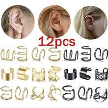 12 шт/компл золотые серьги клипсы для женщин без ушей винтажные