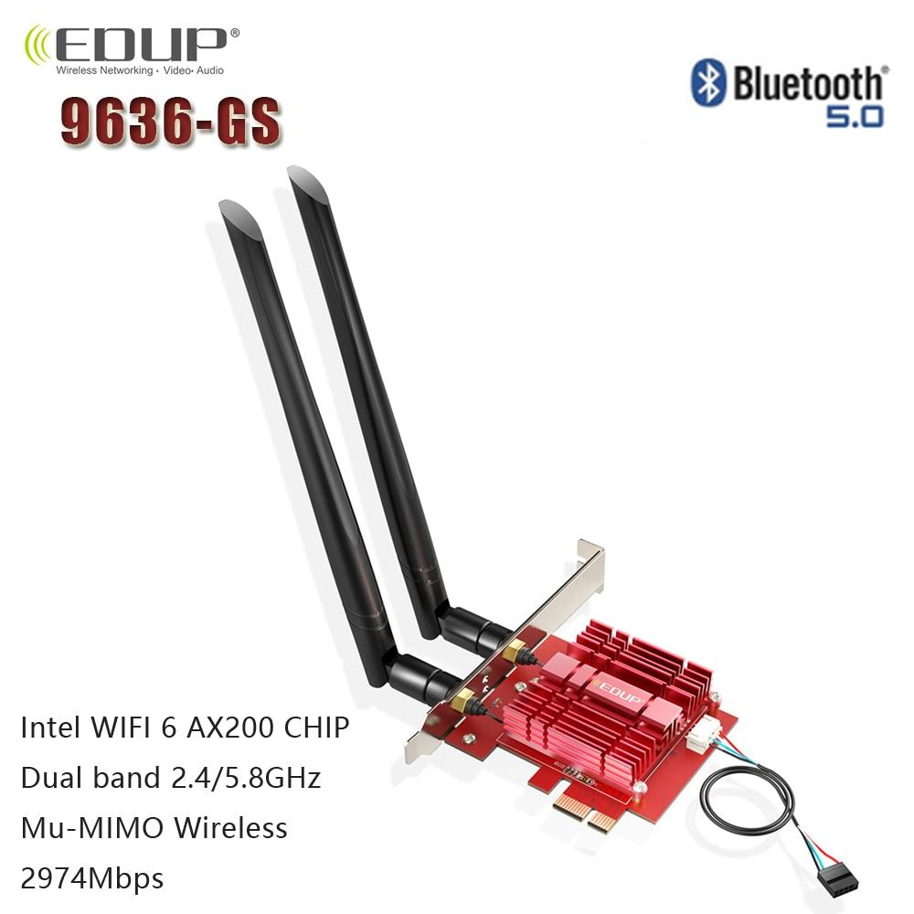 EDUP 3000Mbps WiFi 6 PCI-E Network Card 802.11ax/ac Dual band 2.4G/5GHz Wireless Intel AX 200 PCI Express WiFi Bluetooth Adapter(China)