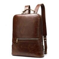 Business Man Backpacks Crazy Horse Leather Backpack For Laptop Vintage Men Travel Bags Quality Male Mochilas