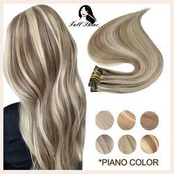 Full Shine Clip on Human Hair Extensions Piano Hightlight Color Hairpins 7Pcs 100g Double Weft 100% Machine Remy Natural Hair