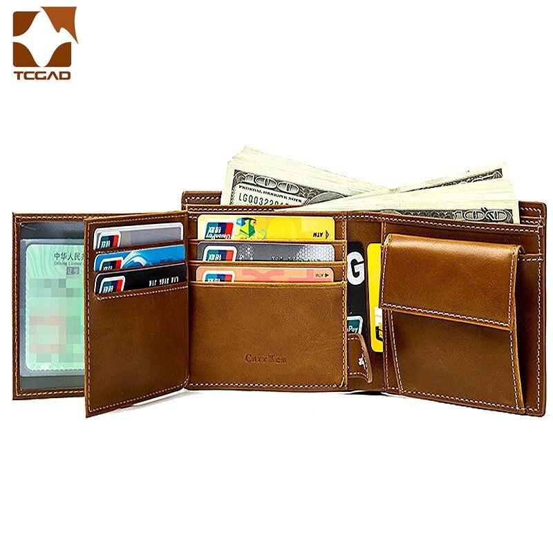 Novo masculino carteira retro titular do cartão fino bolsa de dinheiro cartera hombre topo ferrolho couro carteiras curtas portefeuille homme 2020