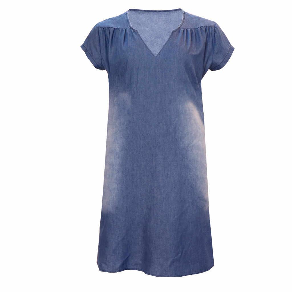 Denim elbise artı boyutu kadın yeni moda rahat düz seksi V boyun uzun parti gevşek платье kısa kollu salıncak yaz elbisesi
