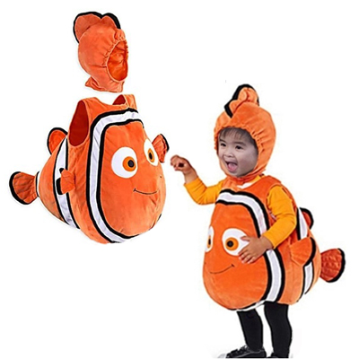 Cute Christmas Fish Clownfish Nemo Costume from Pixar Animated Film Finding Nemo Halloween Cosplay Costume for Baby Kids Party