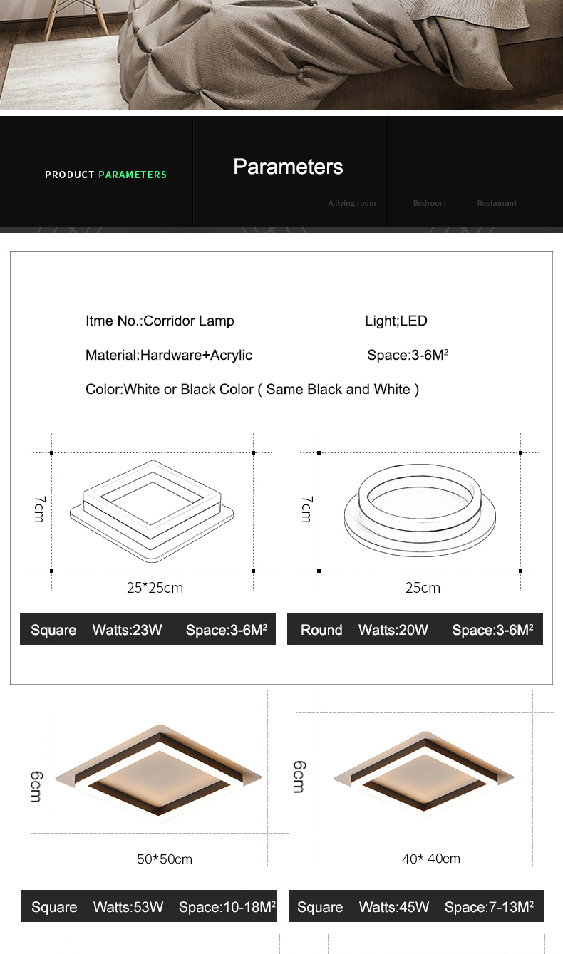 Hd5aad78dd6ea485db12892dc23e779c11 Modern Led Ceiling Lights For Hallway Porch Balcony Bedroom Living Room Surface Mounted Square/Round LED Ceiling Lamp