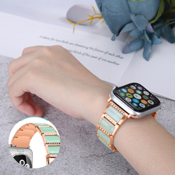 Natural Jade Watchband for apple watch SE/6/5/4/3/2/1 A Class Jadeite jades stainless steel straps for apple watch
