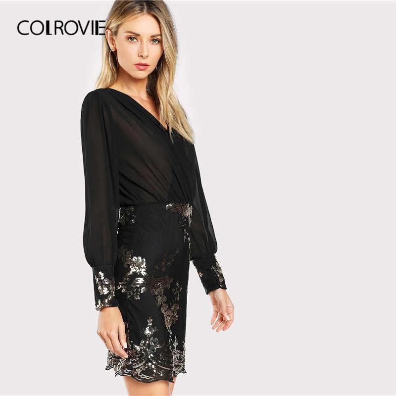 COLROVIE женское Полупрозрачное платье с корсетом с блестками и цветочным принтом, 2019, v-образный вырез, рукав-Бишоп, сексуальные короткие платья с длинным рукавом