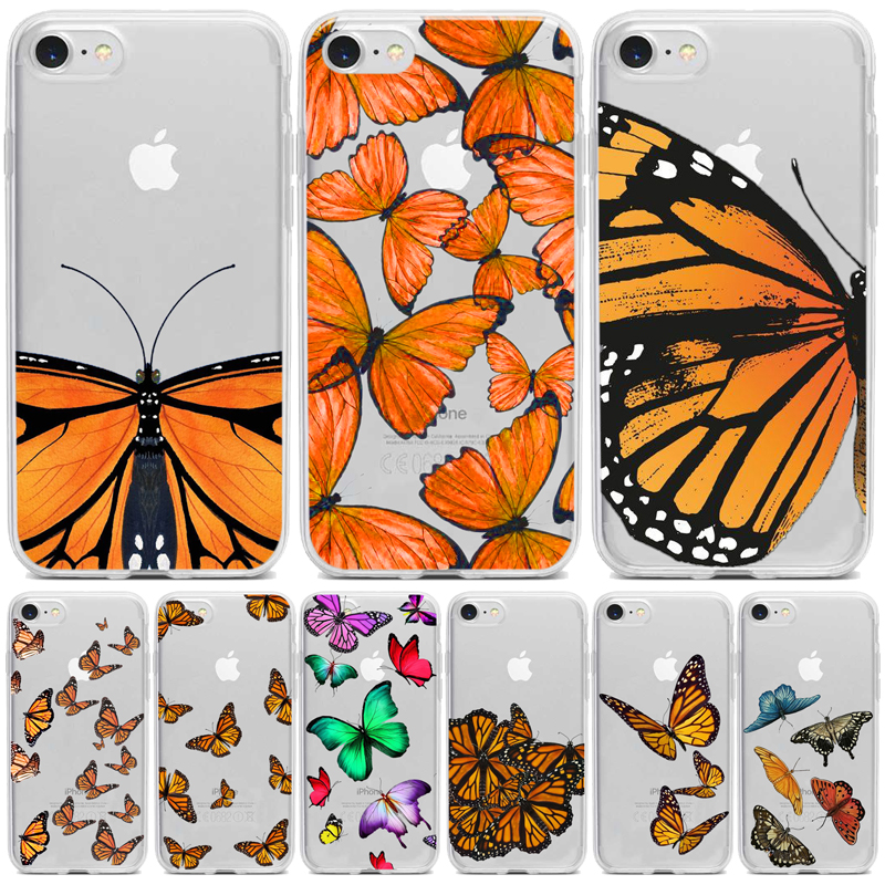 Clear Monarch Butterfly Phone Case For iPhone X XS Max Xr 11 pro <font><b>5</b></font> 5S SE 8 76 s Plus INS Premium Ins Soft Fundas Cover Coque image